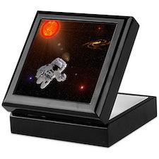Astronaut And Sun With Stars Keepsake Box