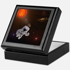 Astronaut And Sun With Stars Keepsake Box