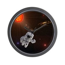 Astronaut And Sun With Stars Wall Clock