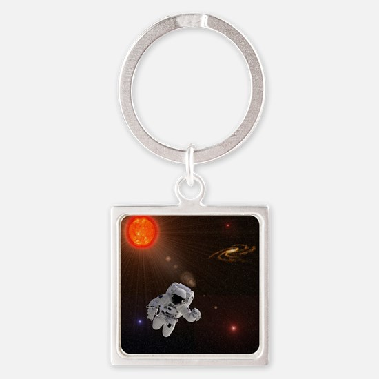 Astronaut And Sun With Stars Square Keychain