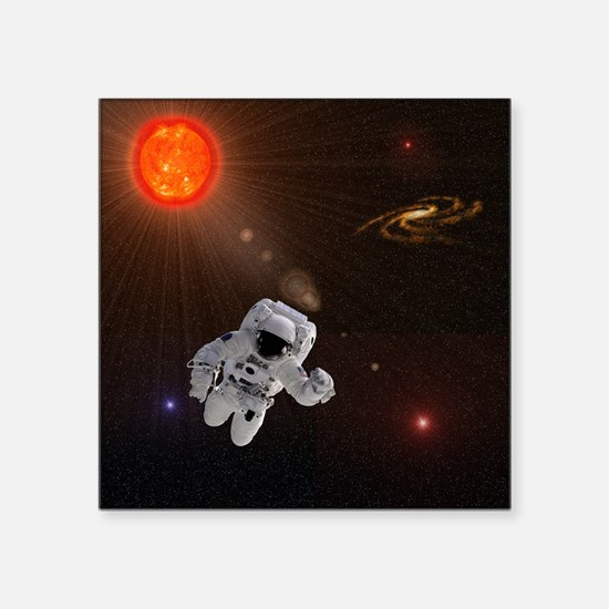 "Astronaut And Sun With Star Square Sticker 3"" x 3"""