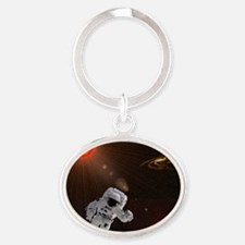Astronaut And Sun With Stars Oval Keychain