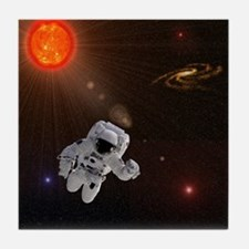 Astronaut And Sun With Stars Tile Coaster