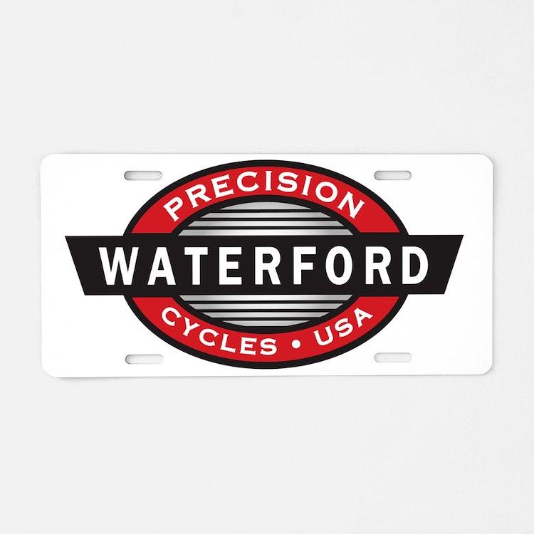 WaterfordLogoRed-Black-Whit Aluminum License Plate