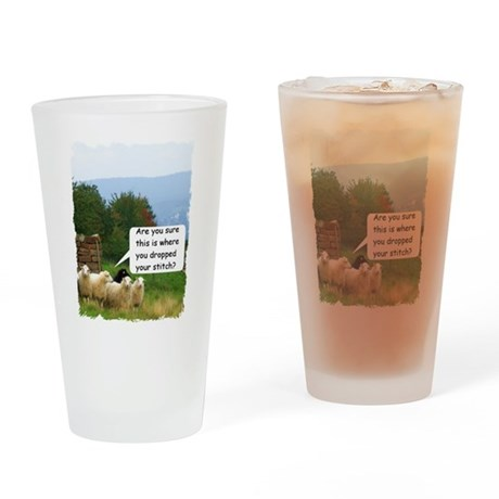 Drop Stitch Sheep Drinking Glass