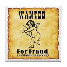 Cupid Wanted Poster Tile Coaster