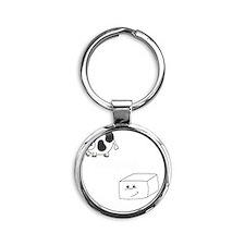 2-save a cow eat tofu 2 Round Keychain