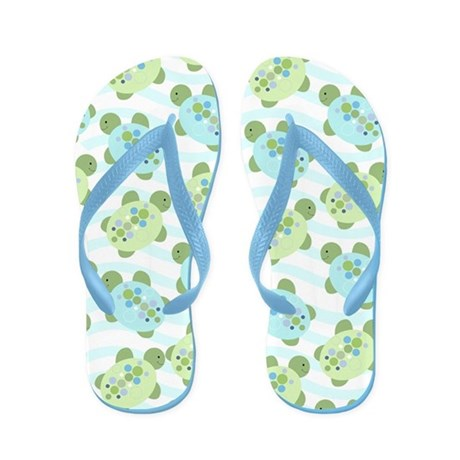 Cute Blue And Green Turtles Flip Flops
