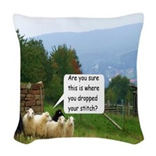 Dropped Stitch Sheep Woven Throw Pillow