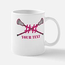 Lacrosse Pink Camo Sticks Crossed Personalize Mugs