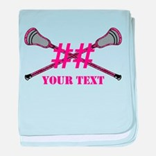 Lacrosse Pink Camo Sticks Crossed Personalize baby