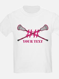 Lacrosse Pink Camo Sticks Crossed Personalize T-Sh