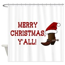 Santa Boot: Merry Christmas, Y'all! Shower Curtain