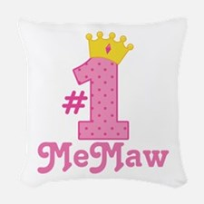 MeMaw (Number One) Woven Throw Pillow