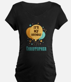 Personalized Birthday Balloon Party Maternity T-Sh