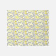 Yellow Gray Paisley Pattern Throw Blanket