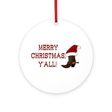 Santa Boot: Merry Christmas, Y'all! Ornament (Roun