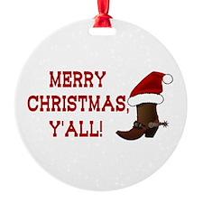 Santa Boot: Merry Christmas, Y'all! Ornament