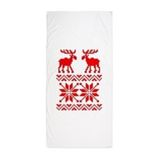 Moose Sweater Christmas Pattern Beach Towel