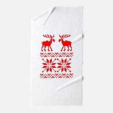 Moose Sweater Christmas Pattern Beach Towel