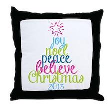 Sassy Christmas Word Tree Throw Pillow