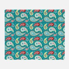 Teal Yellow Red Paisley Pattern Throw Blanket