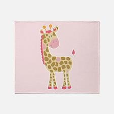 Pink Giraffe Blanket Throw Blanket