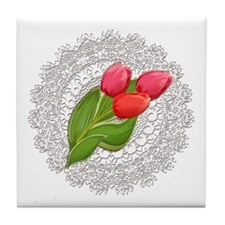 Vintage Lace Doily and Red Tulips Tile Coaster