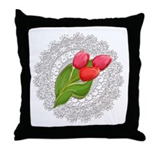Vintage Lace Doily and Red Tulips Throw Pillow