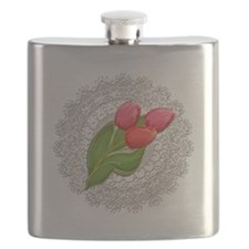 Vintage Lace Doily and Red Tulips Flask