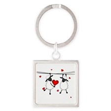 Hang on to Love Sheep Square Keychain