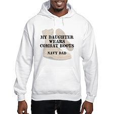 Navy Dad daughter wears DCB Hoodie
