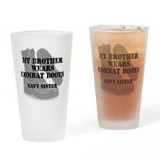 Navy Sister Brother wears CB Drinking Glass