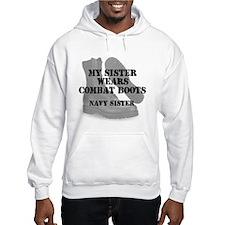 Navy Sister wears CB Hoodie
