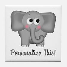 Cute Elephant Personalized Tile Coaster