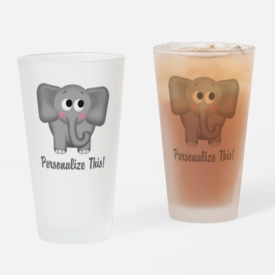Cute Elephant Personalized Drinking Glass