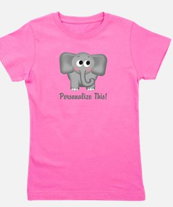 Cute Elephant Personalized Girl's Tee
