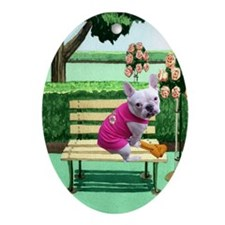 Frenchie Park Oval Ornament