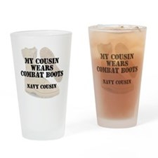 Navy Cousin wears DCB Drinking Glass