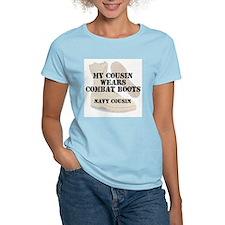 Navy Cousin wears DCB T-Shirt