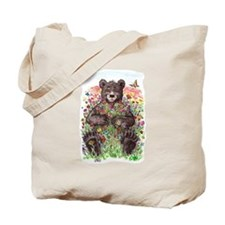 Black Bear with Flowers Tote Bag