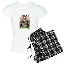 Black Bear with Flowers Pajamas