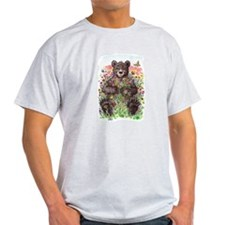 Black Bear with Flowers T-Shirt