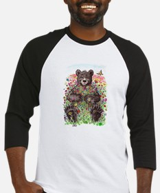 Black Bear with Flowers Baseball Jersey