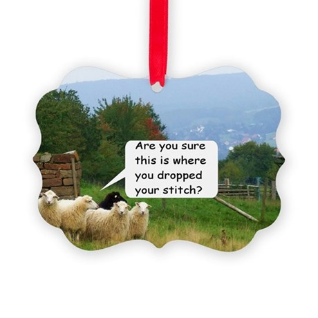 Knitting Dropped Stitch Help : Dropped Stitch Knitting Sheep Picture Ornament by listing-store-17996288
