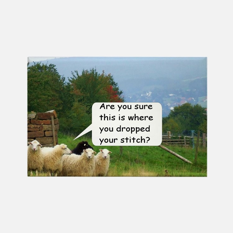 Dropped Stitch Knitting Sheep Rectangle Magnet