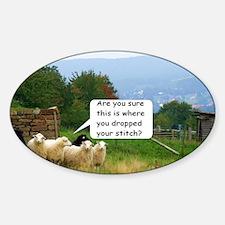 Dropped Stitch Knitting Sheep Sticker (Oval)