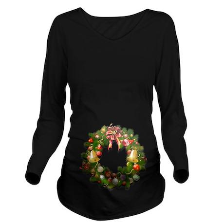 Classy Christmas Wre Long Sleeve Maternity T-Shirt