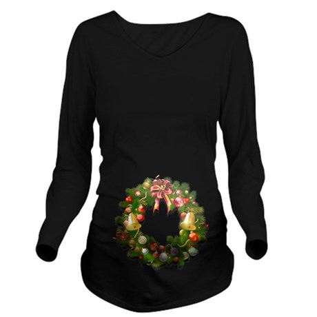Xmas Wreath Long Sleeve Maternity T-Shirt