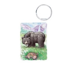 Black Bear with fawn in me Keychains
